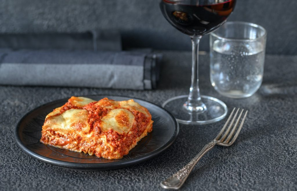 Dish of lasagne